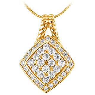 Diamond Square Pendant 14K Yellow Gold-1.00 Ct Diamonds
