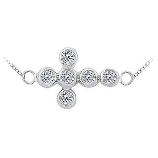 Diamond Sideways Cross Necklace In 14K White Gold 0.20 Ct Diamonds Bezel Setting