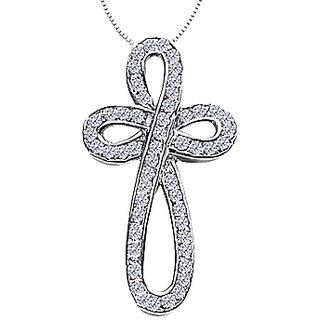 Diamond Ribbon Loop Cross Necklace In 14K White Gold 0.55 Ct Diamonds
