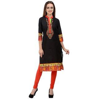 Rumara Straight Cotton Embroidered Black V-Neck Casual Kurti for Women