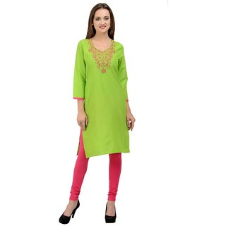 Rumara Straight Cotton Embroidered Green V-Neck Casual Kurti for Women