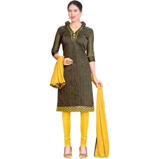 Sareemall Brown Cotton Printed Salwar Suit Dress Material (Unstitched)
