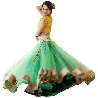 Vadakkan Green Net Printed Semi Stitched Lehenga, Choli And Dupatta Set