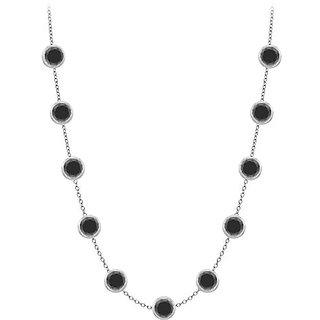 Diamonds Necklace In 14K White Gold Bezel Set 2Ct.Tw Black Diamonds