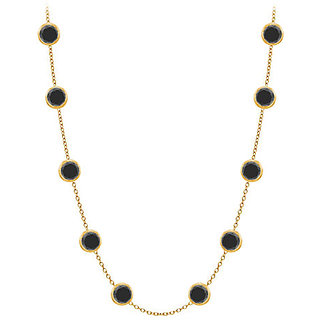 Stylish Diamonds Necklace In 14K Yellow Gold Bezel Set 3 Ct.Tw Black Diamonds