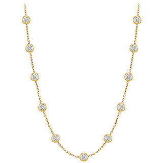 Classic Diamonds Necklace In 14K Yellow Gold Bezel Set 0.25 Ct.Tw