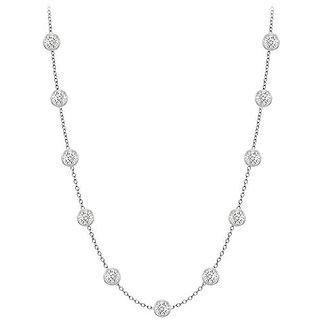 Stylish Diamonds Necklace In 14K White Gold Bezel Set 0.33 Ct.Tw
