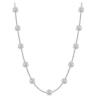 Gorgeous Diamonds Necklace In 14K White Gold Bezel Set 0.50 Ct.Tw