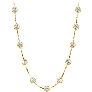 Elegant Diamonds Necklace In 14K Yellow Gold Bezel Set 0.75 Ct.Tw