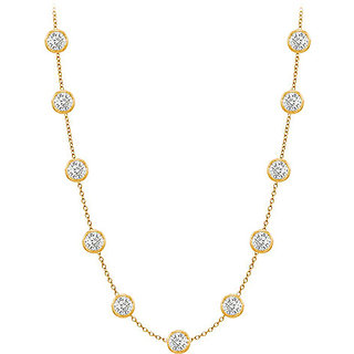 Contemporary Diamonds Necklace In 14K Yellow Gold Bezel Set 1 Ct.Tw