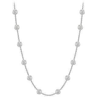 Classy Diamonds Necklace In 14K White Gold Bezel Set 0.33 Ct.Tw