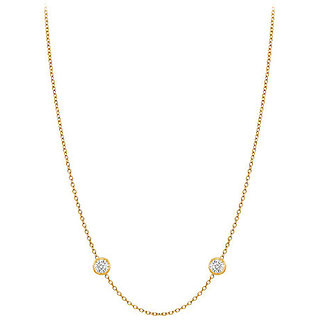 Trendy Diamonds Necklace In 14K Yellow Gold Bezel Set 0.05 Ct.Tw