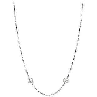 Chic Diamonds Necklace In 14K White Gold Bezel Set 0.10 Ct.Tw