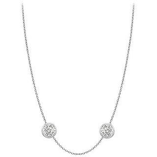 Dazzling Diamonds Necklace In 14K White Gold Bezel Set 0.50 Ct.Tw