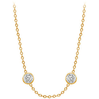 Diamonds Necklace In 14K Yellow Gold Bezel Set 0.80 Ct.Tw
