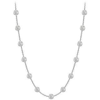 Beautiful Diamonds Necklace In 14K White Gold Bezel Set 0.33 Ct.Tw
