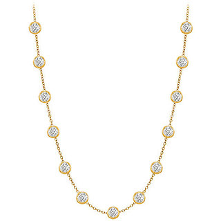 Classy Diamonds Necklace In 14K Yellow Gold Bezel Set 1 Ct.Tw
