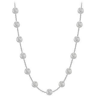 Beautiful Diamonds Necklace In 14K White Gold Bezel Set 1.75 Ct.Tw