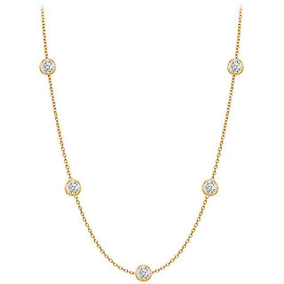 Trendy Diamonds Necklace In 14K Yellow Gold Bezel Set 0.25 Ct.Tw