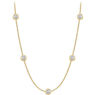 Classic Diamonds Necklace In 14K Yellow Gold Bezel Set 0.33 Ct.Tw