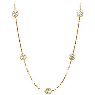 Gorgeous Diamonds Necklace In 14K Yellow Gold Bezel Set 0.50 Ct.Tw