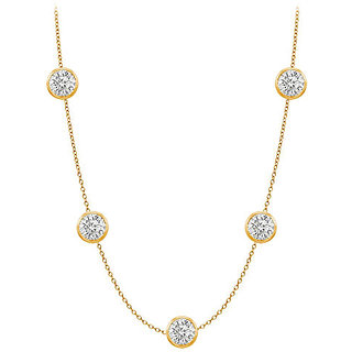 Diamonds Necklace In 14K Yellow Gold Bezel Set 1Ct.Tw