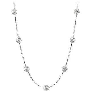 Exquisite Diamonds Necklace In 14K White Gold Bezel Set 0.50 Ct.Tw