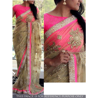 The Net Multi Rad Peachy Sarees