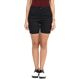 Hypernation Solid Womens Black Bermuda Shorts