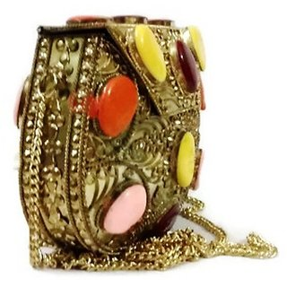 handmade stylish fashionable Metal women Sling Bag Golden color, Metal clutch, women bag, Ethnic bag, unique bag