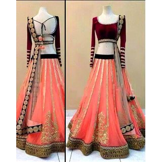 The Superb Pink Net Lehenga