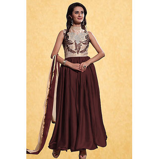 Helix Enterprise New Brown Georgette Embroidered Designer Anarkali Suit HVV-2018