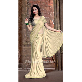 Bhuwal Fashion Beige Lycra Self Design Saree With Blouse
