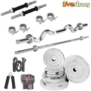 LiveStrong 52 kg chrome steel plates  home gym combo 2