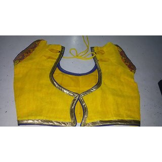 Yellow Color Raw Silk Embroidered Readymade latest blouse designs