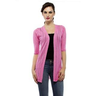 Jaspar Living Pink Vertical Lines Women Shrug