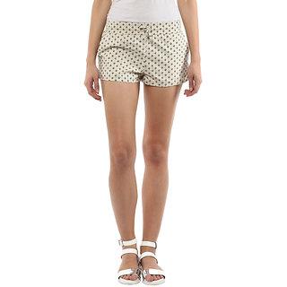 Hypernation Floral Print Womens Beige Basic Shorts, Night Shorts, Beach Shorts