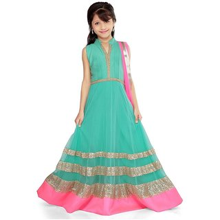 Green Net K and U Frock Suit