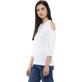 d0ed138bcf5fc Buy Hypernation Solid Womens Round Neck White Cold Shoulder T-Shirt ...