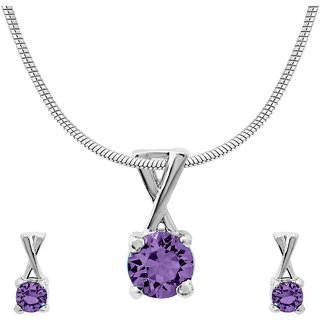 Mahi with CZ Violet Elegant Cross Rhodium Plated Pendant Set for Women NL1104140RVio