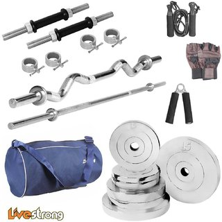 LiveStrong 40 kg chrome steel plates  home gym combo 2 with blue gym bag
