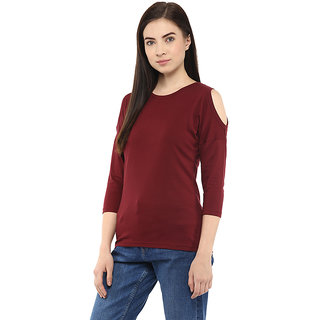 cfcff1bba5d76b Buy Hypernation Solid Womens Round Neck Maroon Cold Shoulder T-Shirt ...