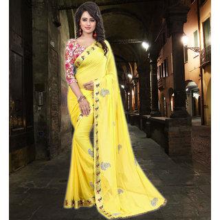 Niharika Fashion Womens Nazneen Yellow Saree