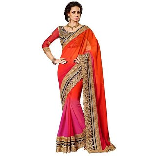 Ladies Bagss Orange & Pink Art Silk Embroidered Saree With Blouse