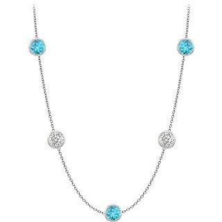 Gemstone Station Necklace Cz & Blue Topaz 25 Ct In 14K White Gold