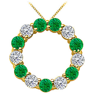 Green Natural Emerald And Diamond Circle Necklace In 14K Yellow Gold 2 Ct