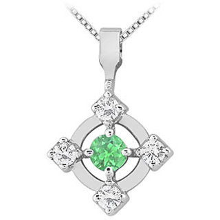 Emerald & Diamond Pendant 14K White Gold-0.50 Ct