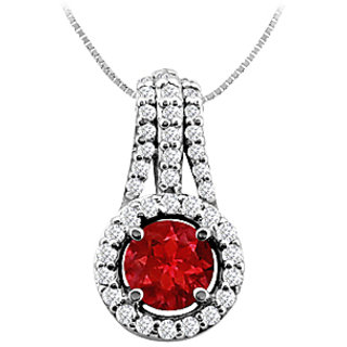 Natural Ruby And Diamond Pendant In 14K White Gold 1.00 Ct