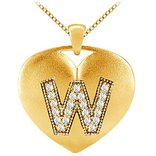 Initial W Diamond Heart Pendant In 14K Yellow Gold With 0.21 Ct Diamonds