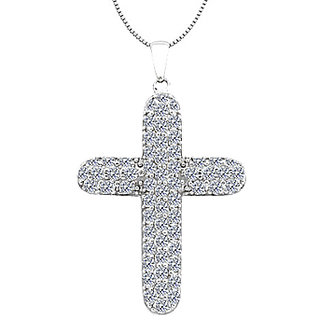 Pave Diamond Of Religious Cross Pendant In 14K White Gold Of 1.80 Ct Diamonds